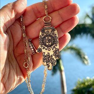 Gorgeous copper long hamsa necklace